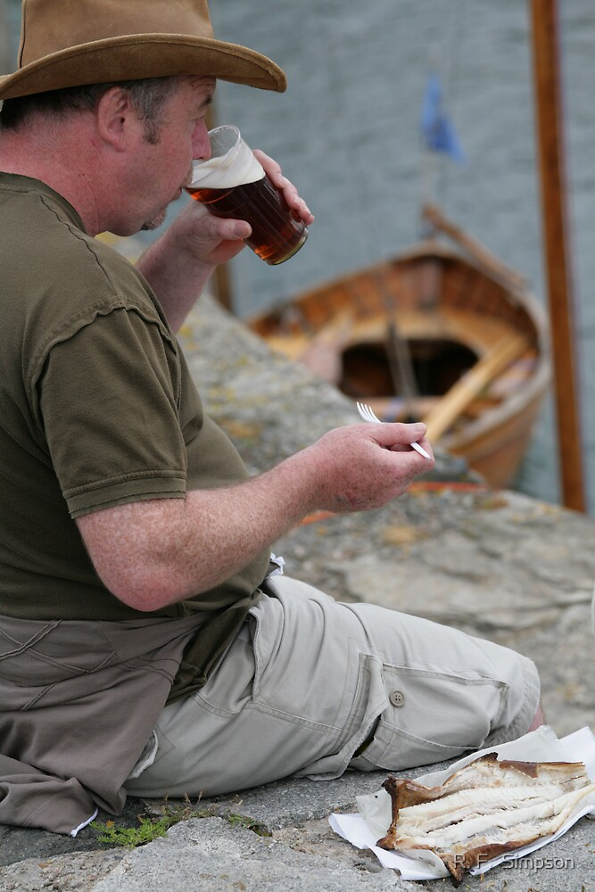 An Arbroath smokie and a pint, at Portsoy traditional boat festival by R. F.  Simpson