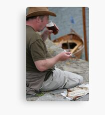 An Arbroath smokie and a pint, at Portsoy traditional boat festival Canvas Print