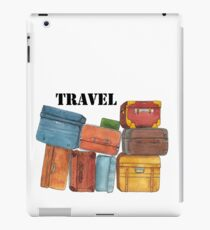 Travel suitcases - pen and watercolor illustration iPad Case/Skin