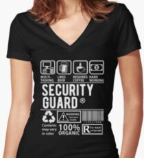Funny Security Guard Shirt - Multytasking Security Guard Women's Fitted V-Neck T-Shirt