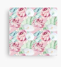 Watercolor Hand Drawn Peonies And Callas Canvas Print