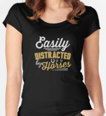 Easily Distracted By Horses  Women's Fitted Scoop T-Shirt