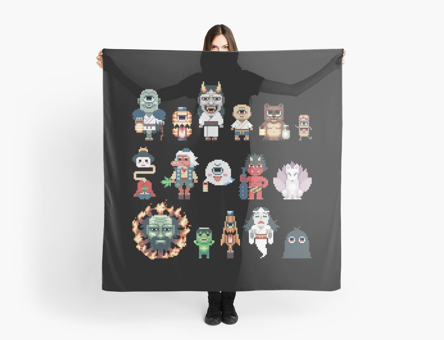 Pixel Yokai Ghosts Monsters Spirits Scarf By G A M E O V E R