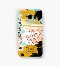 Ames - modern abstract painting in free mark making colors navy mint gold white blush Samsung Galaxy Case/Skin