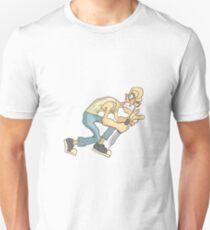 Junkie With Knife Dangerous Criminal Outlined Comics Style Illustration Unisex T-Shirt