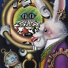 White rabbit with steampunk clock from Alice in Wonderland by Heather Sweet-Moon