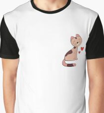 Adorable Cat With Hearts Graphic T-Shirt