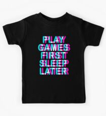 GAMER - PLAY GAMES FIRST SLEEP LATER - TRIPPY 3D GAMING Kids Clothes
