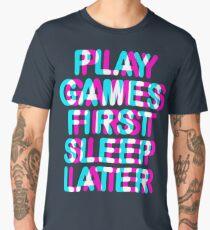 GAMER - PLAY GAMES FIRST SLEEP LATER - TRIPPY 3D GAMING Men's Premium T-Shirt