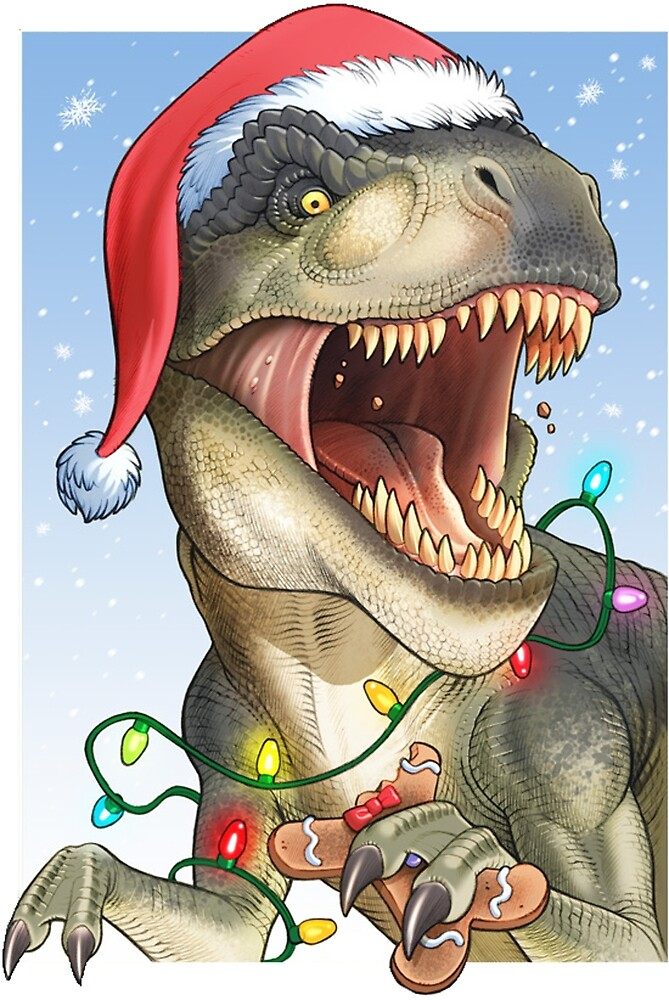 T Rex Christmas.Christmas T Rex Excited For His Prey Sents By Assetmagpie