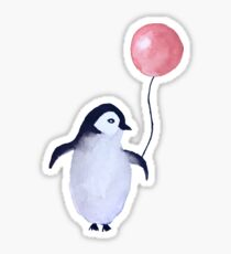 Penguin with a balloon - watercolor Sticker
