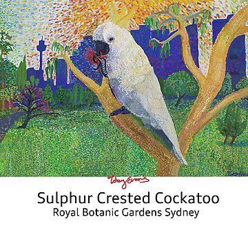 Cockatoo - Botanic Gardens Sydney (light clothing w/black text) by tobycentreart