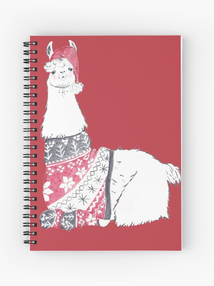 Llama Christmas Sweater.Llama Wearing A Christmas Sweater Spiral Notebook