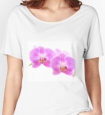 Pink Orchid Flowers Isolated on White Women's Relaxed Fit T-Shirt