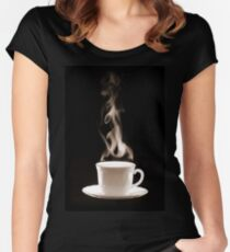 Cup of Hot Coffee with Steam Women's Fitted Scoop T-Shirt