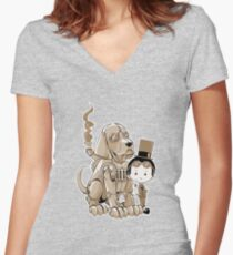 A Victorian boy and his dog Women's Fitted V-Neck T-Shirt