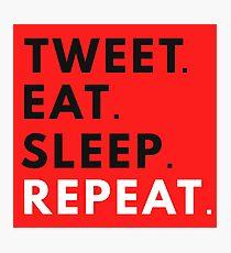 Tweet Eat Sleep Repeat Photographic Print