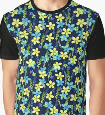 Seamless floral pattern with watercolor blue yellow flowers Graphic T-Shirt