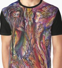 VIVIEN AND MERLIN Pink Purple Blue Fantasy Collection Graphic T-Shirt