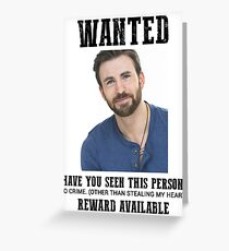 wanted: chris evans Greeting Card