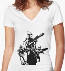 501st Trooper Silk Screen Women's Fitted V-Neck T-Shirt