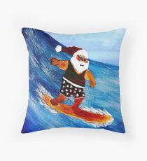 Surfin' Santa Throw Pillow