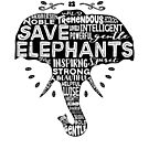 Save Elephants - word cloud (black fill) by jitterfly