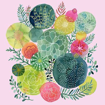 Succulent Circles on Pink by jbroxon