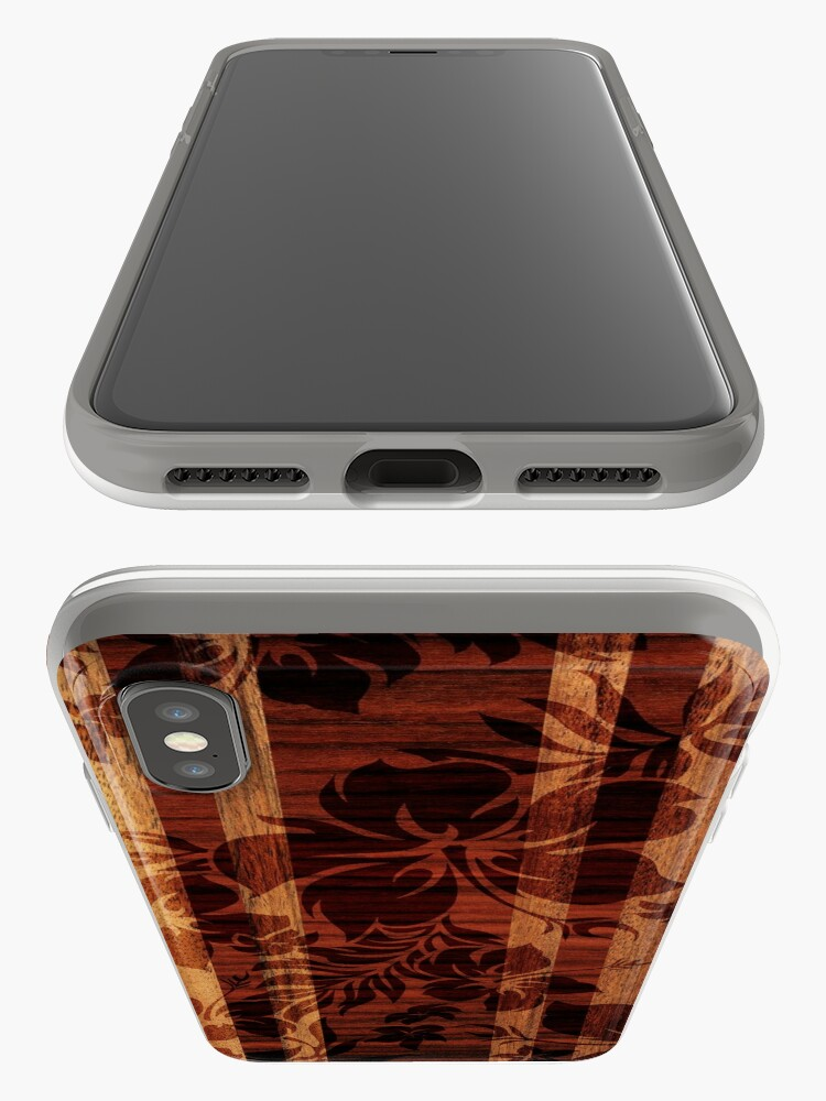 Alternate view of Keokea Beach Faux Wood Hawaiian Surfboard  iPhone Cases & Covers