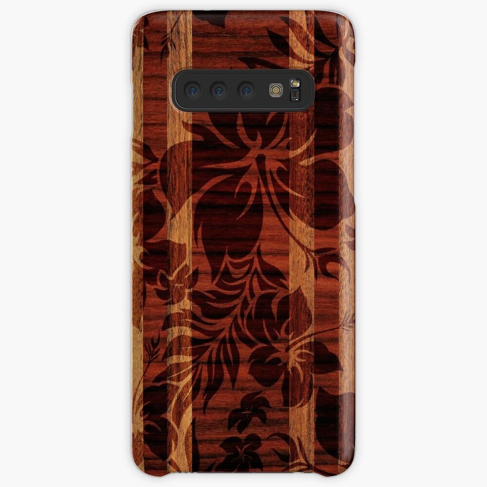 Keokea Beach Faux Wood Hawaiian Surfboard Funda y vinilo para Samsung Galaxy