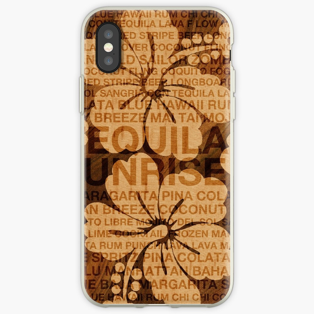 Summer Words Cocktails and Hawaiian Hibiscus iPhone Cases & Covers