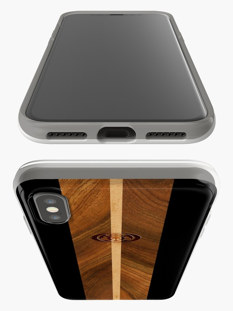 Alternate view of Rocky Point Hawaiian Faux Wood Surfboard - Black iPhone Cases & Covers