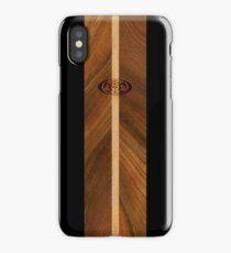 Rocky Point Hawaiian Faux Wood Surfboard - Black iPhone Case/Skin
