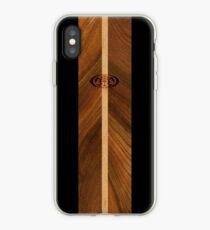 Rocky Point Hawaiian Faux Wood Surfboard - Black iPhone Case