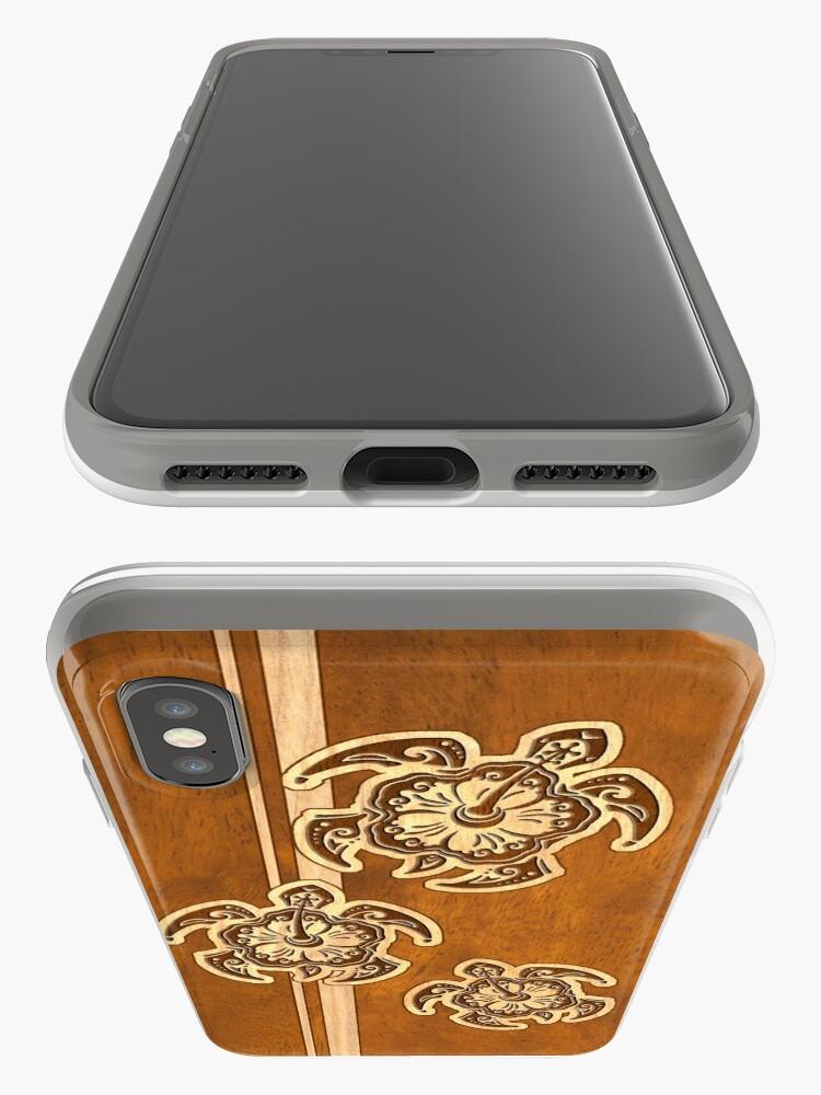 Alternate view of Uhane Honu Faux Wood Hawaiian Turtle iPhone Cases & Covers