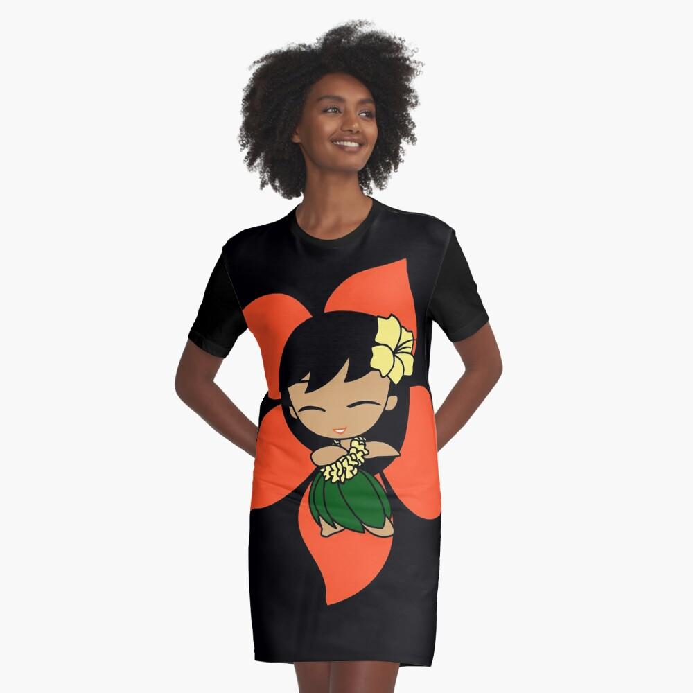 Aloha Honeys Hawaiian Hibiscus Hula Girl - Papaya Graphic T-Shirt Dress
