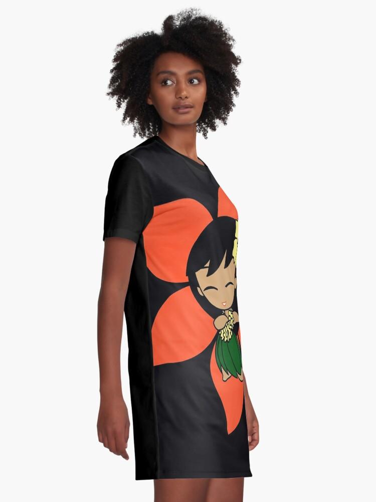 Alternate view of Aloha Honeys Hawaiian Hibiscus Hula Girl - Papaya Graphic T-Shirt Dress