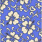Malia Hawaiian Hibiscus Aloha Shirt Print - Periwinkle by DriveIndustries