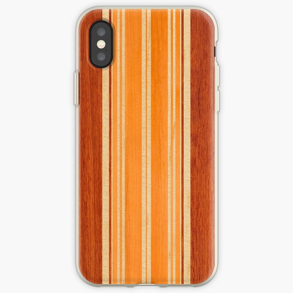 Nalu Lua Faux Hawaiian Koa Wood Surfboard - Amber iPhone Cases & Covers