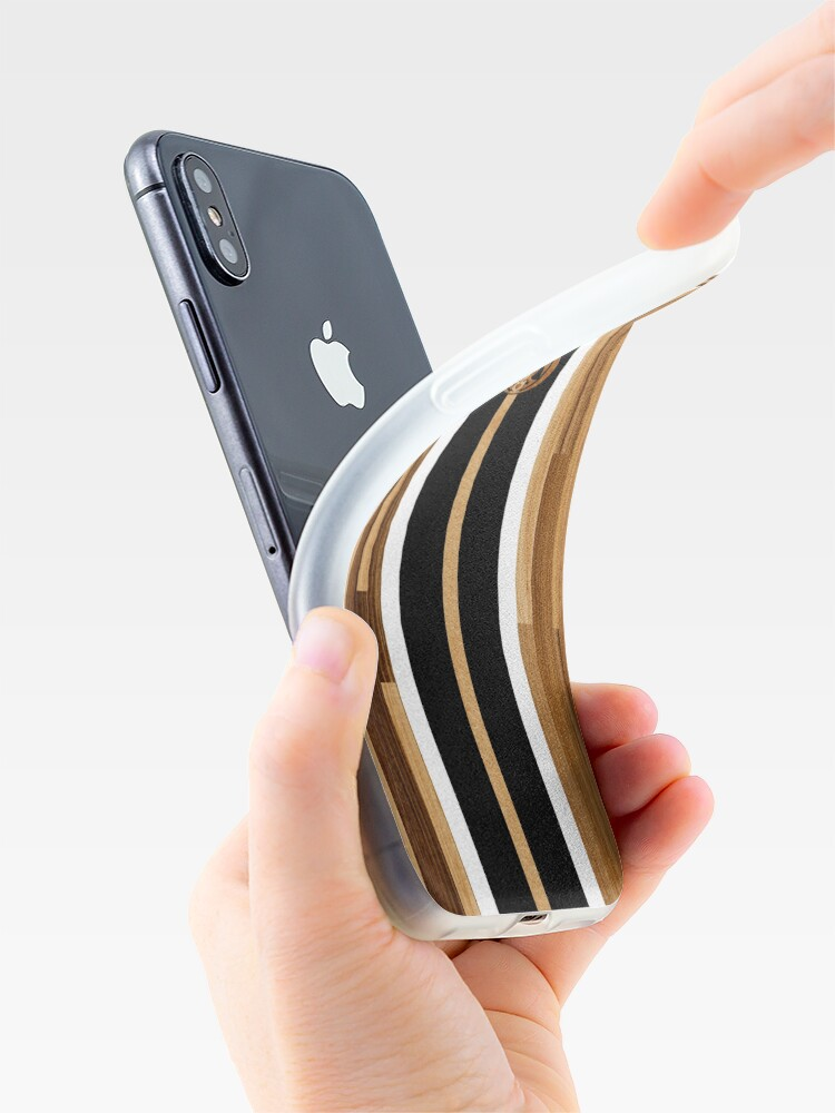 Vista alternativa de Funda y vinilo para iPhone Tabla de surf de madera sintética con diseño hawaiano Rocky Point - Negro