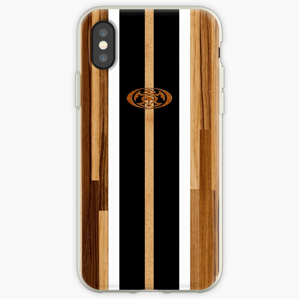 Tabla de surf de madera sintética con diseño hawaiano Rocky Point - Negro Funda y vinilo para iPhone