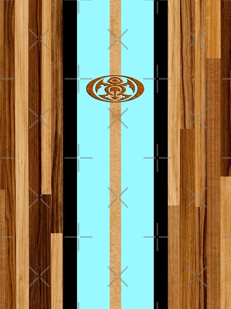 Rocky Point Hawaiian Engineered Faux Wood Surfboard - Aqua by DriveIndustries