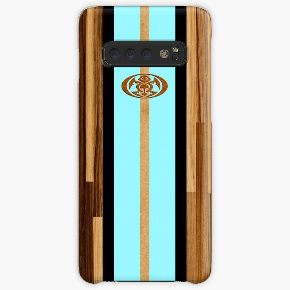 Rocky Point Hawaiian Engineered Faux Wood Surfboard - Aqua Funda y vinilo para Samsung Galaxy