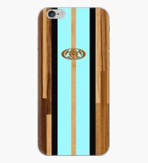Rocky Point Hawaiian Engineered Faux Wood Surfboard - Aqua iPhone Case