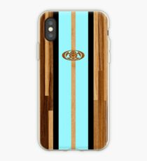 Rocky Point Hawaiian Engineered Faux Wood Surfboard - Aqua iPhone Case