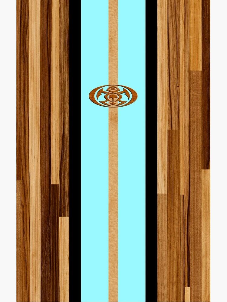 Rocky Point Hawaiian Engineered Faux Wood Surfboard - Aqua de DriveIndustries