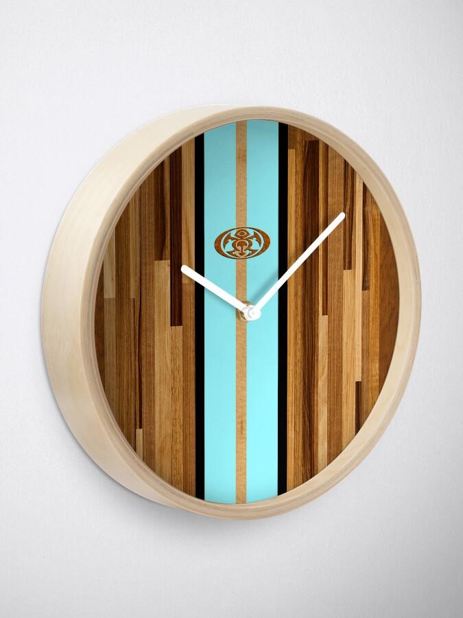 Alternate view of Rocky Point Hawaiian Engineered Faux Wood Surfboard - Aqua Clock