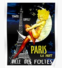 """PARIS"" Vintage Follies Travel Print Poster"