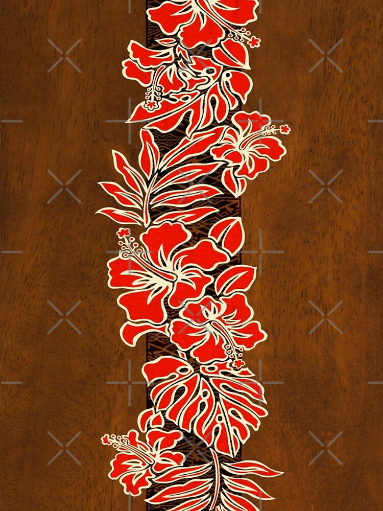 Kalaheo Hawaiian Hibiscus Faux Koa Wood Surfboard - Red by DriveIndustries