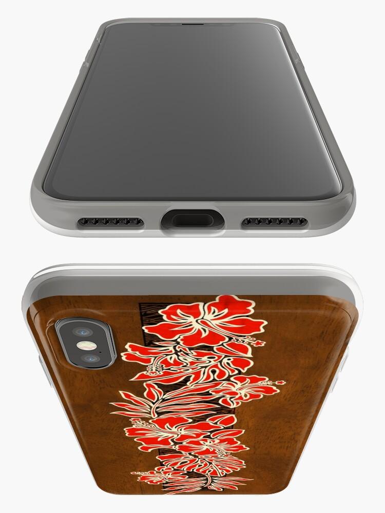 Alternate view of Kalaheo Hawaiian Hibiscus Faux Koa Wood Surfboard - Red iPhone Cases & Covers